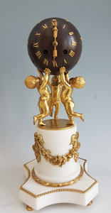 Antique French White marble, patinated bronze and ormolu Globe Clock