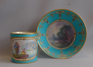Sevres Paris porcelain jewelled and in bleu celeste cabinet cup and saucer, 18th century.