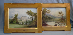 Pair of Derby English porcelain plaques painted by Wm Hancock in fine gilded frames.