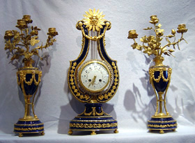 Antique French Napoleon III porcelain & ormolu Lyre Clock.