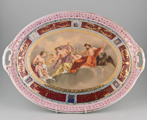 Antique Vienna hand painted serving dish.