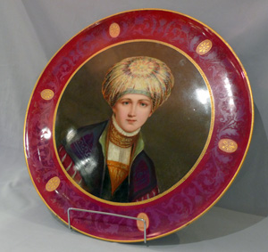 Fine and large antique Vienna porcelain circular portrait plaque.