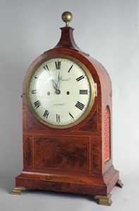 Antique English Flame mahogany George III  bracket clock by James Duncan, London.