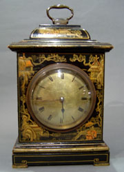 Antique English  Victorian mantel clock with chinnoisserie decoration.