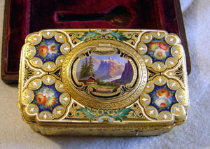 Antique Swiss Ch. Bruguier fusee singing bird box No.278 in silver gilt & enamel case.