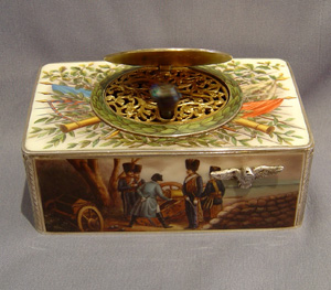 Outstanding silver and enamel singing bird box by Griesbaum with Napoleonic decoration.