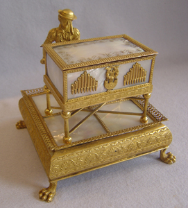 Antique Palais Royal automaton of organ grinder circa 1820
