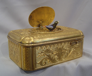Singing bird box in gilt and silvered bronze in Bruguier style case.