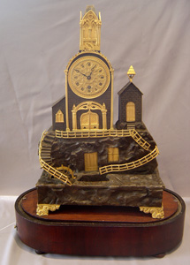 Triple signed watermill automaton clock with musical base
