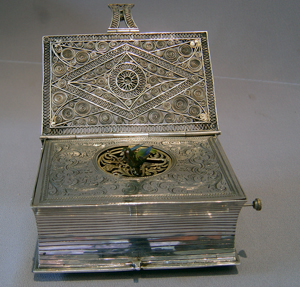 Silver and jewelled singing bird box book.