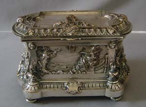 Musical jewel box, fine French 19th Napoleon III, silver plated .