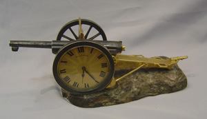 Antique clock as a Novelty Field Gun clock made in France for Mappin and Webb.