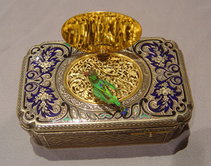 Bruguier silver gilt and enamel singing bird box.