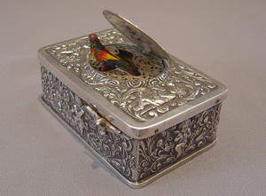 Silver Griesbaum singing bird box automaton.