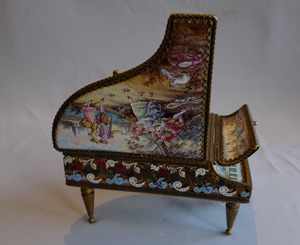 Antique musical box in handpainted enamel, champleve enamel and gilt bronze miniature grand piano.