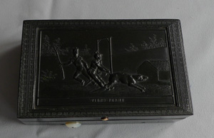 antique musical box with rare military theme in