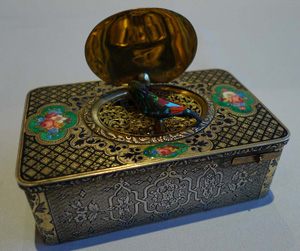 Antique singing bird box in silver gilt and enamel, earliest numbered Charles Bruguier box extant.