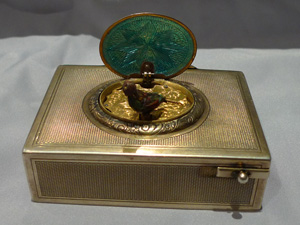 Antique Bruguier fusee singing bird box in engine turned silver case movement signed C. Bruguier 166