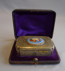 Bruguier fusee singing bird box in silver gilt and enamel in original leather case.
