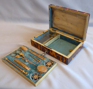 Palais Royal tortoiseshell and ivory musical necessaire with solid gold implements.