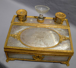 Palais Royal antique musical inkwell and stationary casket.