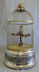 Antique Bontems French large singing bird cage, silver plated, stamped Ovington New York no.321.
