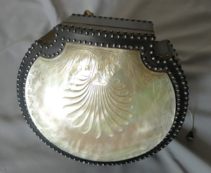 Antique Palais Royal engraved Mother of Pearl and Steel work shell shaped musical  sewing necessair