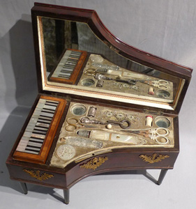Antique Palais Royal musical Grand Piano sewing box.