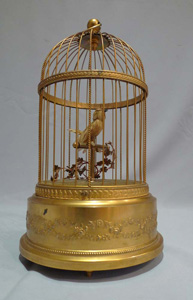 Antique singing bird cage by Bontems of France.