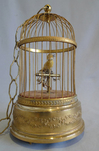 French single bird singing bird cage by Bontems