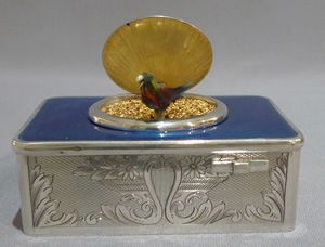 Singing bird box in silver and blue guilloche enamel, movement by Salmon.