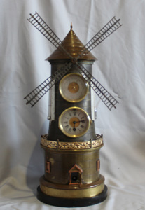 Antique Windmill automaton clock and compendium
