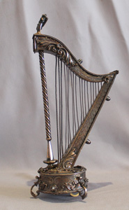 Antique musical harp silver gilt and jewelled, Austro Hungarian,