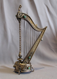 A musical harp silver gilt and jewelled, Austro Hungarian,