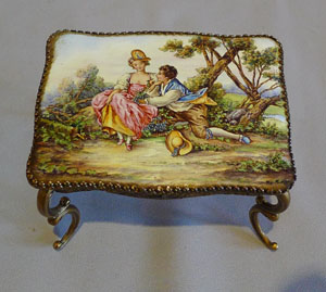 Musical Austrian hand painted  enamel and gilt bronze miniature table.