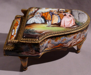 Austrian hand painted enamel musical piano