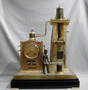 Antique French Industrial clock of rare form as a steam hammer.