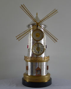 Antique French automaton Windmill clock from the Industrial seried and probably by Guilmet.