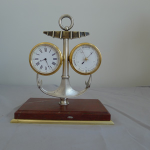 Antique Industrial Series Marine small deskset of clock, barometer and thermometer within an anchor.