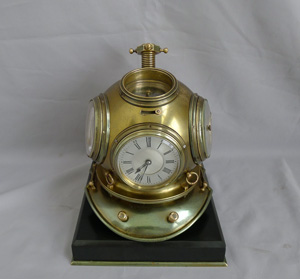 Industrial series Guilmet divers helmet with multiple dials on marble base.France circa 1890.