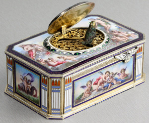 Singing bird box in silver and fine hand painted enamel by Karl Griesbaum