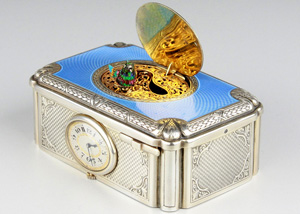 Singing Bird Box in Silver Gilt and Enamel with Timepiece by C.H. Marguerat