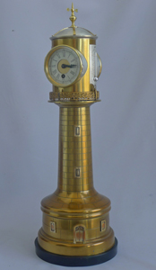 Industrial series antique French automaton lighthouse clock with weather station by Guilmet