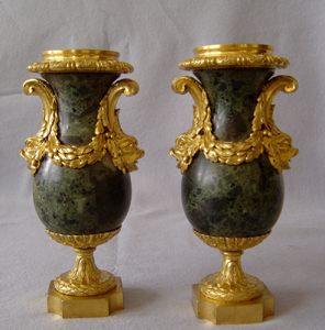 Antique French Louis XVIth marble vert and ormolu urns.