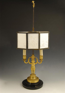 Louis XVIth antique ormolu candelabra with omrakl or lithophane shade.
