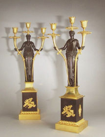 Antique Pair of Baltic or Russian patinated bronze and ormolu figural candelabra.
