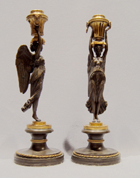 Pair of antique English Regency patinated bronze & ormolu figural candlesticks