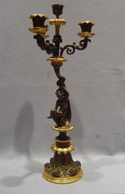 Antique French Charles X period patinated bronze & ormolu 4 branch candelabra