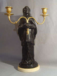 Antique English Regency signed & dated candelabrum in Egyptian revival.
