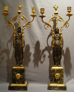 Antique pair French Directoire candelabra in patinated bronze and ormolu.